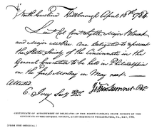a letter naming three men as delegates from the North Carolina Society of the Cincinnati to a National Meeting in May 1784 with Sumner's signature at the bottom