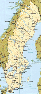 A map of Sweden with largest cities and lakes and most important roads and railroads, from a printed CIA World Factbook. (See also: Atlas of Sweden)