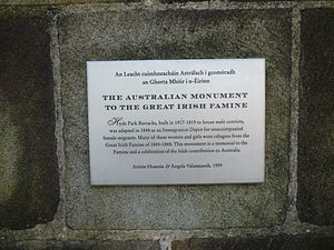 Hossein Valamanesh - Descriptive plaque of The Australian Monument to The Great Irish Famine