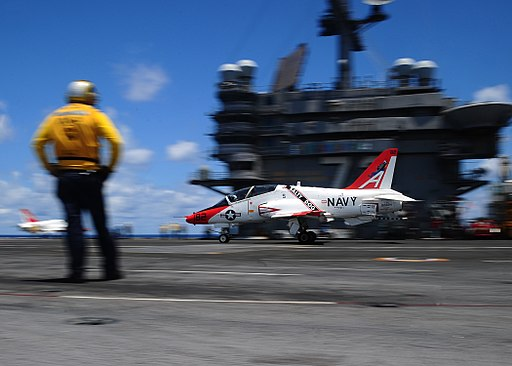 T-45C Goshawk of VT-7 lands on USS George Washington (CVN-73) in May 2016