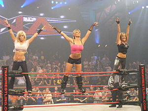 Velvet Sky - Sky (right), Madison Rayne (left) and Lacey Von Erich (center) in December 2009