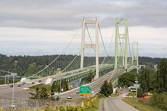 Tacoma Narrows Bridge - The bridges in 2009, as seen from the Tacoma side.