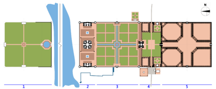Plan of the Taj complex with the Mehtab Bagh gardens to the left Taj site plan.png