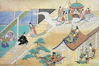 Extraterrestrials in fiction - Kaguya-hime returning to the Moon in The Tale of the Bamboo Cutter (c. 1650).