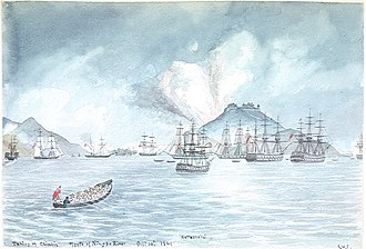 HMS Rattlesnake (1822) - The capture of Chinhai on 10 October 1841, showing HMS Rattlesnake (centre)