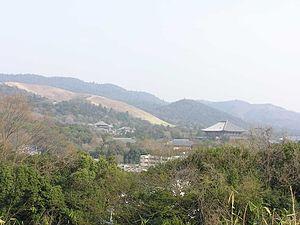Matsunaga Hisahide - A view over Tōdai-ji, Mountains of Wakakusa, Mikasa and Kasuga from Tamon Castle site