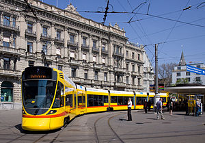 Stadler Rail - Tango tram in Zürich, used for testing and publicity. This tram now serves on Basel's lines 10 and 11.