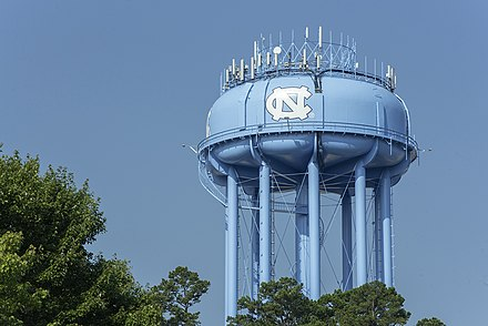 Water tower featuring the official UNC athletics logo Tarheel water tower.jpg