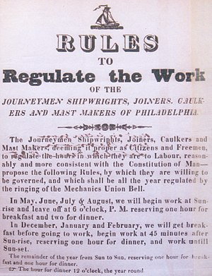 1835 Washington Navy Yard labor strike - Image of the 1835 Ten Hour Day Circular by  the Philadelphia shipwrights, joiners, caulkers and mast makers  to advocate for a reduction in working hours from 12 to 10 hours. This circular was sent to the Secretary of the Navy  by Commodore James Barron. During 1835 labor leaders widely distributed  the circular to Washington Navy Yard and other federal shipyards. Source:: National Archives and Records Administration, Washington DC., Board of Navy Commissioners, Letters Receive, RG 45, E314 Volume 91.