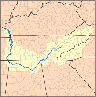 Drainage basin of the Tennessee River.
