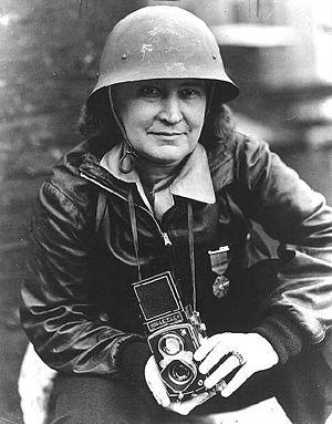 Thérèse Bonney - Therese Bonney wearing medal, February 1942