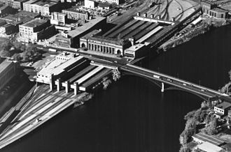 Minneapolis Great Northern Depot - An aerial photograph of the depot in the 1950s