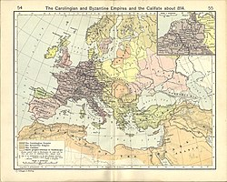 Old map of Europe and the Mediterranean basin showing the polities of the year 814 in various colours