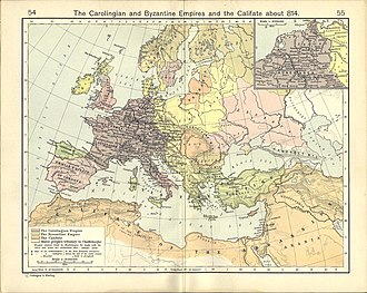 Carolingian Empire - Image: The Carolingian and Byzantine Empires and the Califate about 814