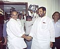 The Chief Minister of Andhra Pradesh, Dr. Y.S. Rajasekhara Reddy meeting with the Union Minister for Steel, Chemicals and Fertilizers, Shri Ram Vilas Paswan in New Delhi on April 8, 2005.jpg