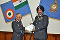 The Chief of the Air Staff, Air Chief Marshal B.S. Dhanoa presenting a memento to the Air Officer Commanding-in-Chief, Eastern Air Command, Air Marshal Anil Khosla, at HQ Eastern Air Command, at Shillong on November 21, 2017.jpg