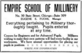 The Illustrated Milliner, Volume 7, Issue 7, advertisement - Empire School of Millinery.png