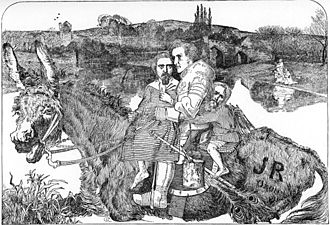 A Dream of the Past: Sir Isumbras at the Ford -  A Nightmare by Frederic Sandys, satirising the painting. Rossetti is caricatured as the child on the left and Holman Hunt as the child on the right. Millais is the knight