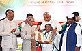 The President, Shri Pranab Mukherjee felicitating the Freedom Fighter, on the occasion of the Centenary of Mahatma Gandhi's Champaran Satyagraha, at Patna, in Bihar (1).jpg