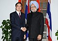 The Prime Minister, Dr. Manmohan Singh meeting the Prime Minister of Thailand, Mr. Abhisit Vejjajiva, in New Delhi on April 05, 2011 (1).jpg