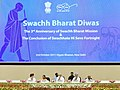 "The Prime Minister, Shri Narendra Modi at an event to mark the Swachh Bharat Diwas the 3rd anniversary of the launch of Swachh Bharat Mission and the conclusion of ""Swachhata hi Sewa"" fortnight, in New Delhi (1).jpg"