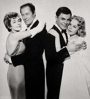 The Reluctant Debutante (film) - L-R: Kay Kendall, Rex Harrison, John Saxon, and Sandra Dee