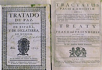 Peace of Utrecht - First edition of the 1713 Treaty of Utrecht between Great Britain and Spain in Spanish (left) and a later edition in Latin and English.