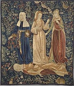 Οι τρεις Μοίρες σε φλαμανδικό χαλί τοίχου του 16ου αιώνα