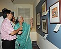 The Union Minister for Culture, Smt. Chandresh Kumari Katoch going round the exhibition 'Rama-Katha – The story of Rama through Indian Miniatures', in New Delhi on August 14, 2013.jpg
