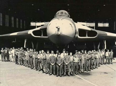 Engineers and flight crew with the Vulcan prior to deployment to Ascension Island