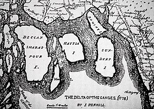 Ganges Delta - Delta of Ganges from the map of surveyor James Rennell (1778)