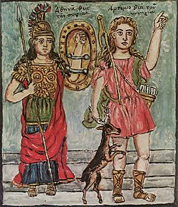 Theofilos Athena and Artemis