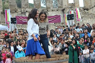 Grape treading - Arianne Caoili (left) performing grape stomping during the 3rd Annual Wine Festival in Artsakh