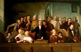 West gallery music - The Village Choir c. 1847, painting by Thomas Webster
