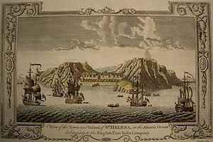 Saint Helena - A View of the Town and Island of Saint Helena in the Atlantic Ocean belonging to the British East India Company, engraving, c. 1790.