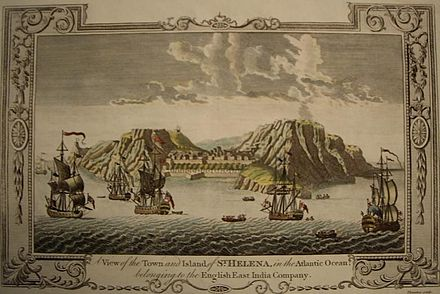 A View of the Town and Island of Saint Helena in the Atlantic Ocean belonging to the British East India Company , engraving, c. 1790. Thornton, St Helena.jpg