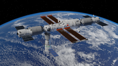 Rendering of Tiangong Space Station in October 2021