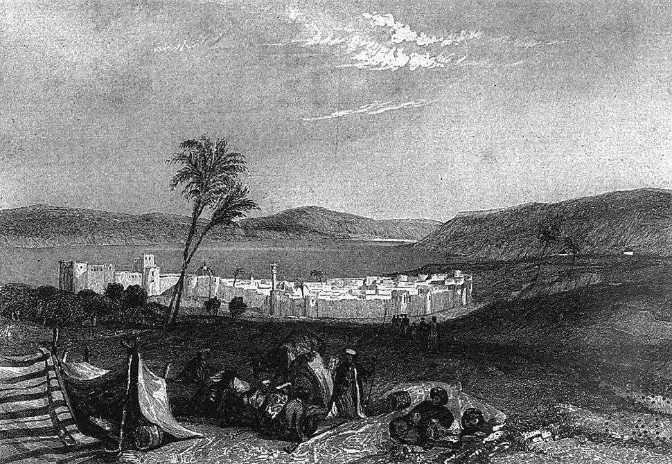 Tiberias, Sea of Galilee, Illustration for La Terre-Sainte et les lieux illustrés par les apôtres, by Adrien Egron, 1837 (20)