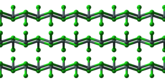 Ball-and-stick models of the structure of solid stannous chloride (SnCl2). Tin(II)-chloride-xtal-1996-3D-balls-front.png