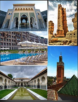 Clockwise from top: Mansourah Mosque, Great Mosque of Tlemcen, Mechouar Palace, Renaissance Hotel, Centre d'études andalouses