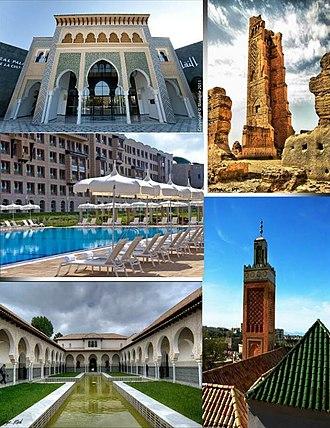 Tlemcen - Clockwise from top:  Mansourah Mosque, Great Mosque of Tlemcen, Mechouar Palace, Renaissance Hotel, Centre d'études andalouses