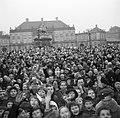 Toeschouwers op het plein van Slot Amalienborg ter ere van de verjaardag van de , Bestanddeelnr 252-8666.jpg