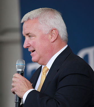 Tom Corbett - Tom Corbett speaking at a Pittsburgh rally for presidential candidate John McCain in 2008