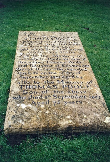 The gravestone of Poole and his parents in the churchyard of St. Mary's, Nether Stowey. His age at death is given inaccurately. Tom Poole's grave.jpg