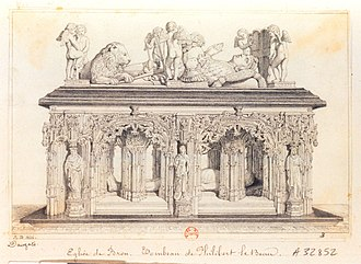 Philibert II, Duke of Savoy - Tomb of Philibert, as sketched by Adrian Dauzats in 1836, atthe Eglise de Brou