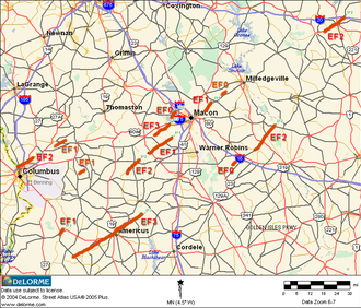 Tornado outbreak of February 28 – March 2, 2007 - Map of the 14 confirmed tornadoes in central Georgia