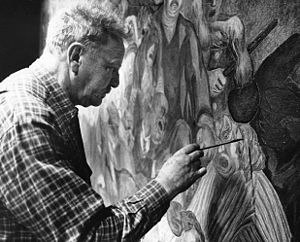 Torsten Billman - Torsten Billman restoring his buon fresco Development of Society (1947) in Gävle 1983.