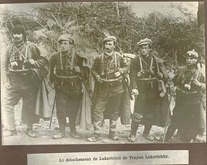 Vlado Chernozemski - Unit of Voivode Trajan Lakashki c. 1920; second from the left is Vlado Chernozemski