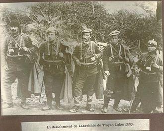 Vlado Chernozemski - Unit of Voivode Trajan Lakashki c. 1920; second from the left is Vlado Chernozemski