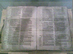 Bible errata - The Treacle Bible opened at the page of the eponymous curiosity. St Mary's Church, Banbury.